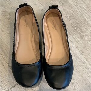 Woman's Slip on Black Leather Shoes